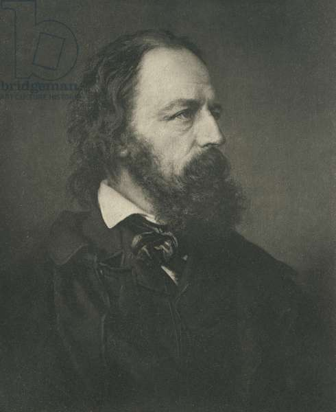 Alfred, Lord Tennyson (1809-92), Noted English Poet, Portrait based on Photography by Mayall (b/w photo)
