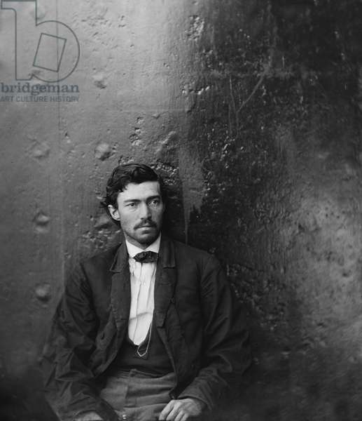 Samuel Arnold, Conspirator in Assassination of U.S. President Abraham Lincoln, Seated, Washington Navy Yard, Washington DC, USA, by Alexander Gardner, April 1865 1865 (b/w photo)