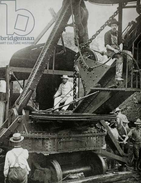 US President Theodore Roosevelt on Giant Steam Shovel at Culebra Cut During Construction of Panama Canal, 1906