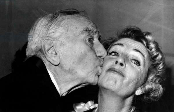 Production Supervisor Busby Berkeley kissing Ruby Keeler on Opening Night of Broadway Musical,