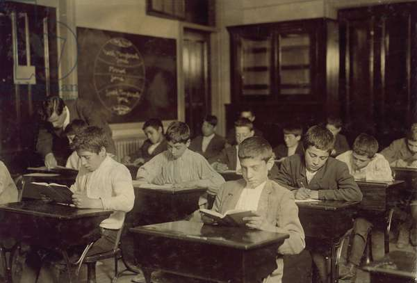 Immigrant Boys at Night School, Boston, Massachusetts, USA, circa 1909