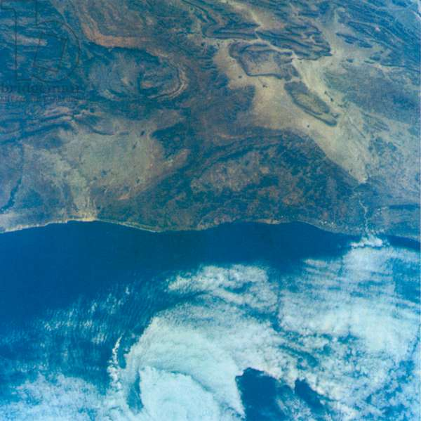 Coast of Morocco, Africa Showing Small offshore Cyclone, Taken from Gemini V Spacecraft, August 26, 1965