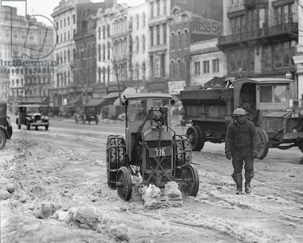 Ford Tractor Removing Snow from Street, Washington DC, USA, 1924 (b/w photo)