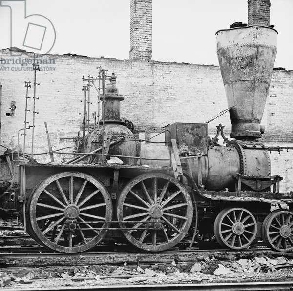 Damaged Locomotives, American Civil War, Richmond, Virginia, USA, 1865 (b/w photo)