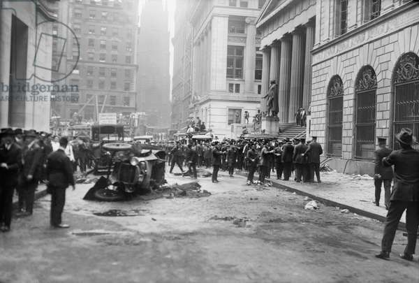 Damage from Terrorist Bomb Explosion, Wall Street, New York City, New York, USA, Bain News Service, September 16, 1920 (b/w photo)