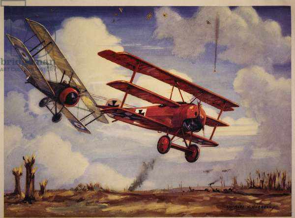 Canadian Pilot, Captain Arthur Roy Brown, in his Sopwith Camel Downing Baron Manfred von Richthofen in his Fokker Tri-Plane, April 21, 1918