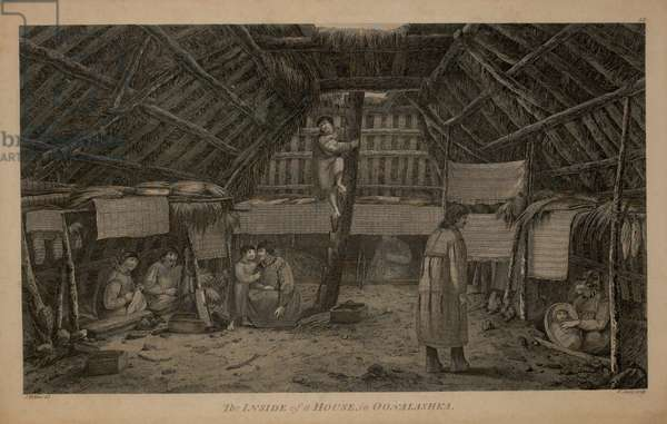 The Inside of a House, in Oonalashka, 1784 Engraving by W. Sharp