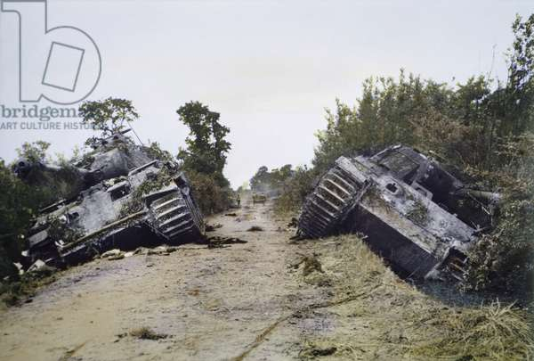 Two Damaged German Panther Tanks, Battle of Normandy, France, June 1944 (photo)