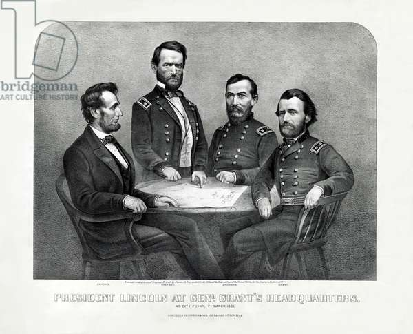 President Lincoln at Genl. Grant's Headquarters, at City Point, Virginia, March 1865, (litho)