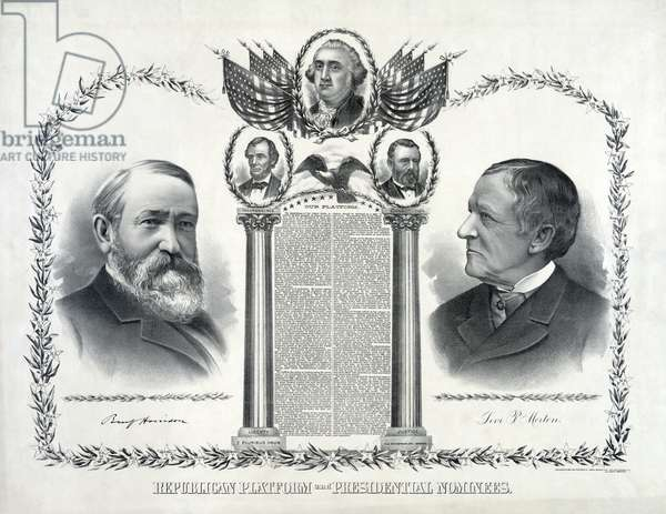 Republican Platform and Presidential Nominees, presidential candidate Benjamin Harrison and Vice Presidential Candidate Levi P. Morton, published by Siegel Cooper & Co. 1888 (litho)
