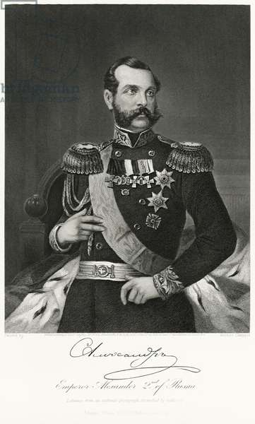 Alexander II (1818-81), Emperor of Russia 1855-81, Half-Length Portrait, Steel Engraving, Portrait Gallery of Eminent Men and Women of Europe and America by Evert A. Duyckinck, Published by Henry J. Johnson, Johnson, Wilson & Company, New York, 1873 (print)
