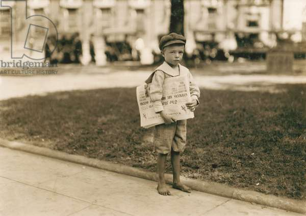 Portrait of 7-year-old Newsboy who Didn't Know How to Make Change for Customers, Mobile, Alabama, USA, circa 1914