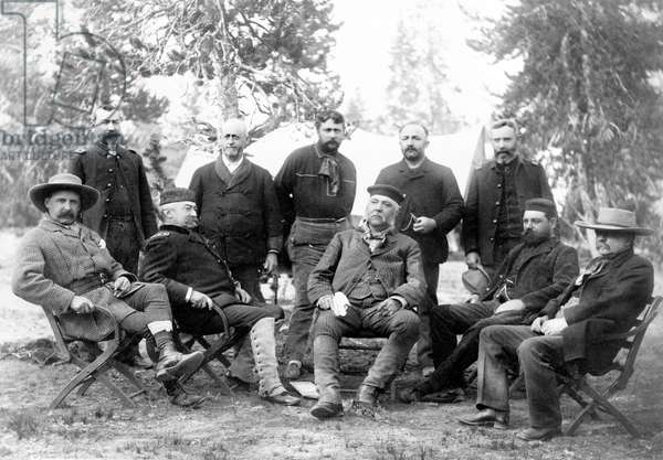 U.S. President Chester A. Arthur and Members of his Expedition to Yellowstone National Park, Left to right: John Schuyler Crosby, Lt. Col. Michael V. Sheridan. Lt. Gen. Philip H. Sheridan, Anson Stager, unidentified, President Arthur , unidentified, unidentified, Robert Todd Lincoln, and George G. Vest, Upper Geyser Basin, Wyoming, USA, 1883 (b/w photo)
