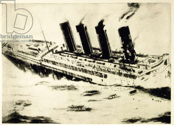 Lusitania sinking off the Irish coast after being torpedoed by a German U-boat during World War I, May 7, 1915 (litho)