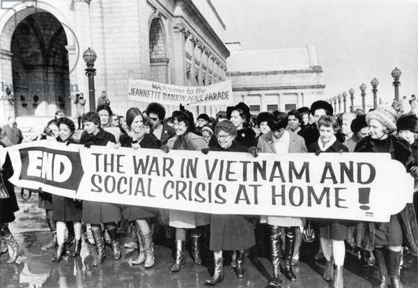 Crowd of Women including Jeannette Rankin (center with glasses), First Woman Elected to Congress, Protesting Vietnam War outside of Union Station on their Way to Capitol, Washington, D.C., USA, 1965