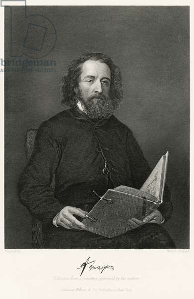 Alfred, Lord Tennyson (1809-92), English Poet, Seated Portrait, Steel Engraving, Portrait Gallery of Eminent Men and Women of Europe and America by Evert A. Duyckinck, Published by Henry J. Johnson, Johnson, Wilson & Company, New York, 1873 (print)