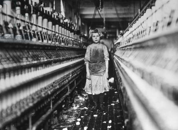 Young Girl Working in Cotton Mill, Augusta, Georgia, USA, 1909 (b/w photo)