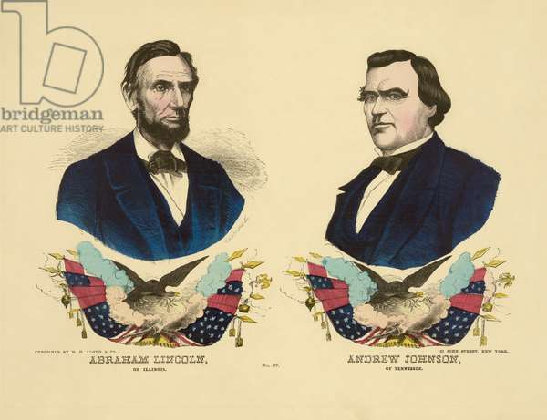 Campaign Banner for the Republican Ticket in 1864 Presidential Election featuring Portraits of U.S. President Abraham Lincoln (left) and Andrew Johnson (right), H.H. Lloyd & Co., Lithographer and Publisher, 1864 (litho)