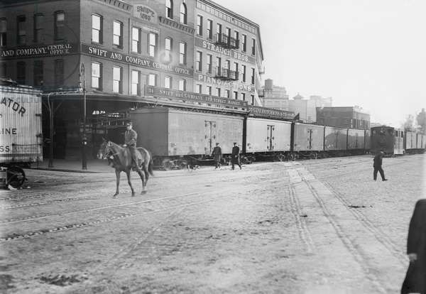 Train on Tracks, Eleventh Ave at 28th Street, New York City, New York, USA, Bain News Service, circa 1900 (b/w photo)