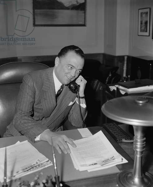 J. Edgar Hoover, Director of FBI, Department of Justice, Portrait on Telephone, Washington DC, USA, Harris & Ewing, April 1940 (b/w photo)