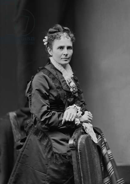 Lucretia Garfield (1832-1918), Wife of James A. Garfield, 20th President of the United States, Three-Quarter Length Portrait, , 1870's (b/w photo)
