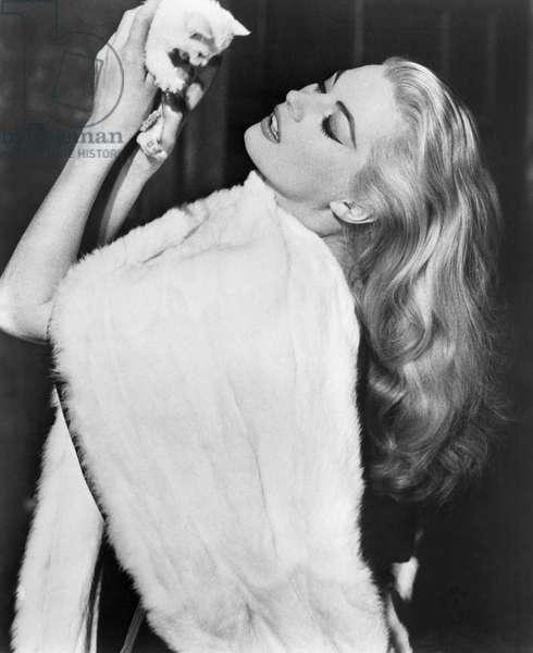 "Anita Ekberg, on-set of the Film, ""La Dolce Vita"", 1960"