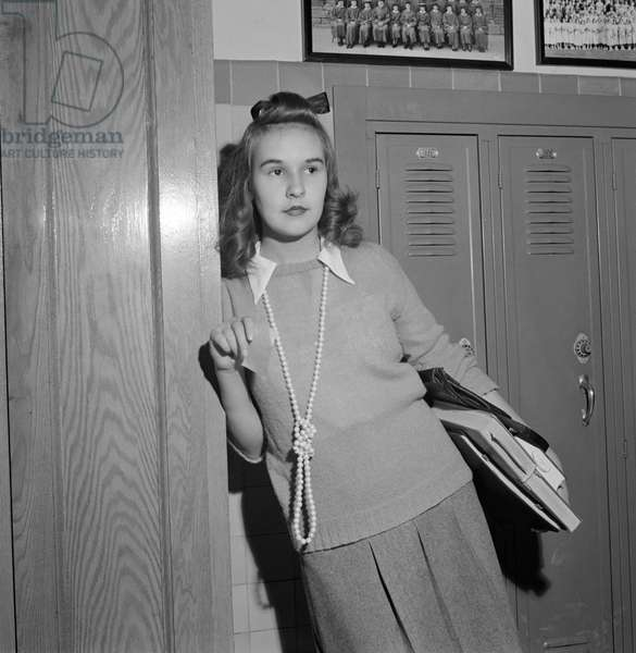 Teenage Girl Wearing Sweater and Long Bead Necklace, Woodrow Wilson High School, Washington DC, USA, Esther Bubley for Office of War Information, October 1943