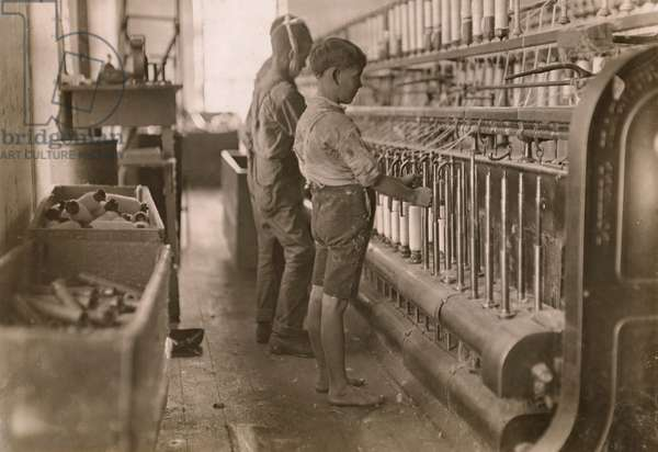 Young Boys Working as Doffers at Cotton Mill, Cherryville, North Carolina, USA, circa 1908