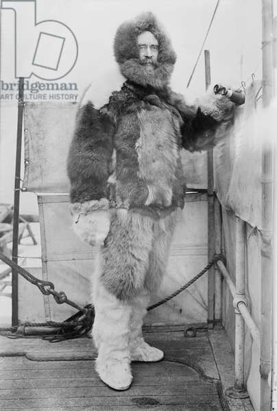 Robert E. Peary, Portrait in Fur Parka on Deck of S.S. Roosevelt, Bain News Service, 1906 (b/w photo)
