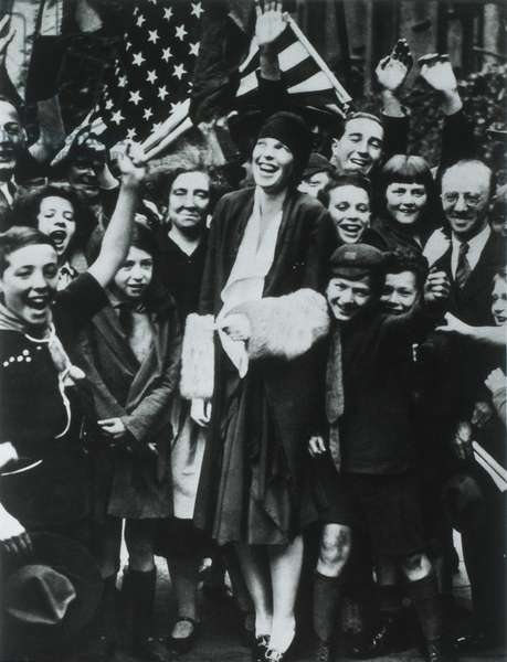 Amelia Earhart Welcomed in London after Flight from Newfoundland to Wales, June 17-18, 1928