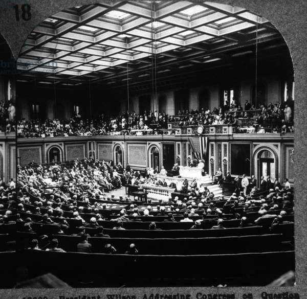 President Wilson Addressing Congress on Question of International Peace & Imminent Danger of War with Germany, February 3, 1917