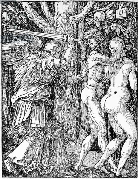 """Adam and Eve, """"Expulsion from Paradise"""", 1510 (woodcut)"""