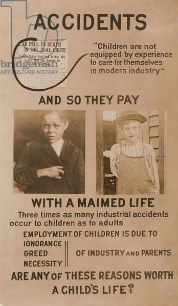 National Child Labor Committee Exhibition Panel, USA, circa 1913