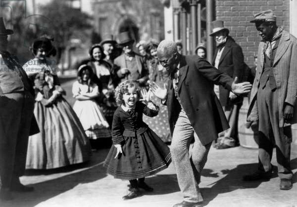 """Shirley Temple and Bill Robinson, on-set of the Film, """"The Littlest Rebel"""", 1935"""