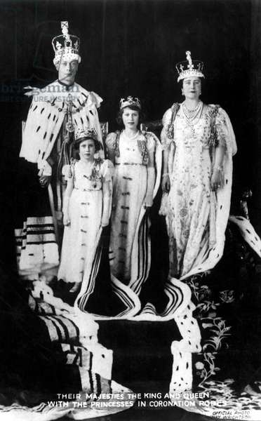 King George VI, H.M. Queen Elizabeth, Princesses Elizabeth and Margaret, of United Kingdom, at Coronation, May 12, 1937