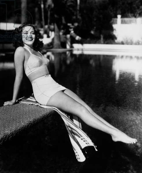 Actress Dorothy Lamour, Publicity Portrait in Two-Piece Bathing Suit, circa 1940 (b/w photo)