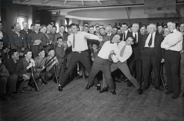 Jack Dempsey, Harry Houdini and Benny Leonard Spar at Publicity Event, circa 1920