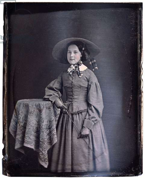 Young Woman in Long Dress and Large Floppy Hat with Riding Crop, Portrait, Daguerreotype, Circa 1850's