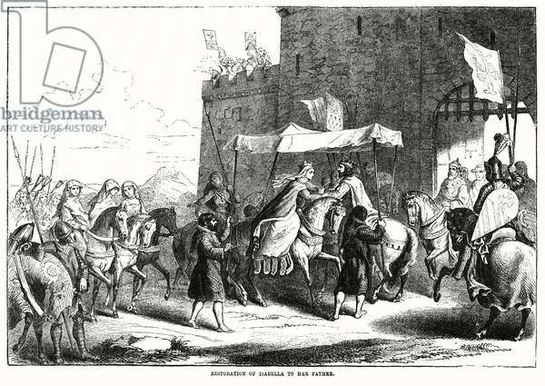 Restoration of Isabella to Her Father, Charles VI, King of France, Illustration from John Cassell's Illustrated History of England, Vol. I from the earliest period to the reign of Edward the Fourth, Cassell, Petter and Galpin, 1857 (litho)