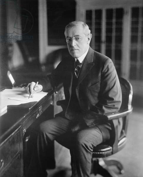 U.S. President Woodrow Wilson at his Desk, circa 1910's