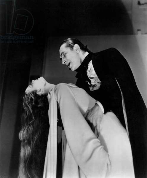 "Carroll Borland, Bela Lugosi, on-set of the Film, ""Mark of the Vampire"", 1935"