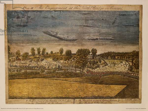 The Engagement of the North Bridge in Concord, Plate III, by Ralph Earl, 1775, Hand-Colored Etching and Engraving by Amos Doolittle, Printed by R. R. Donnelley & Sons Company