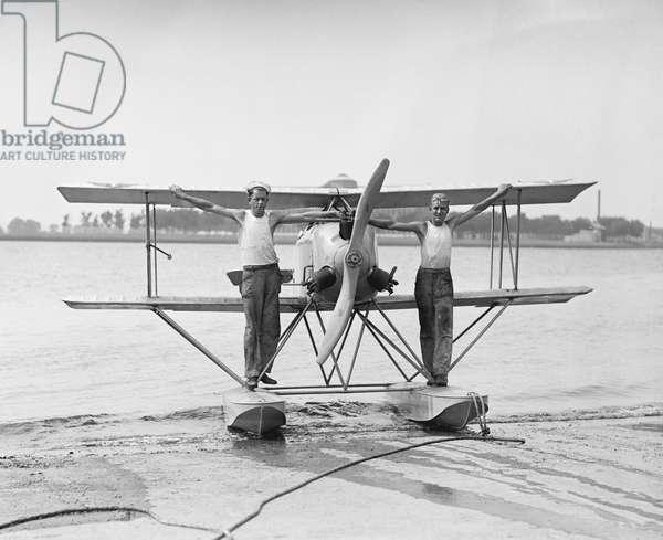 Two Men with Naval Submarine Plane, Washington DC, USA, 1923 (b/w photo)