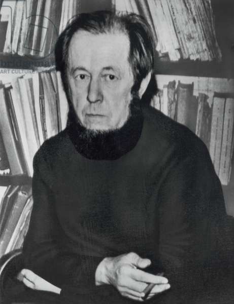 Aleksandr Solzhenitsyn (1918-2008), Russian Novelist and Writer, Portrait, 1974 (b/w photo)