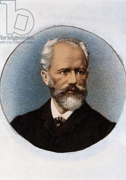 Portrait of Piotr Ilyich Tchaikovsky (colour litho)