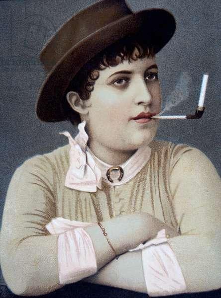 Woman Smoking, c.1880 (colour litho)
