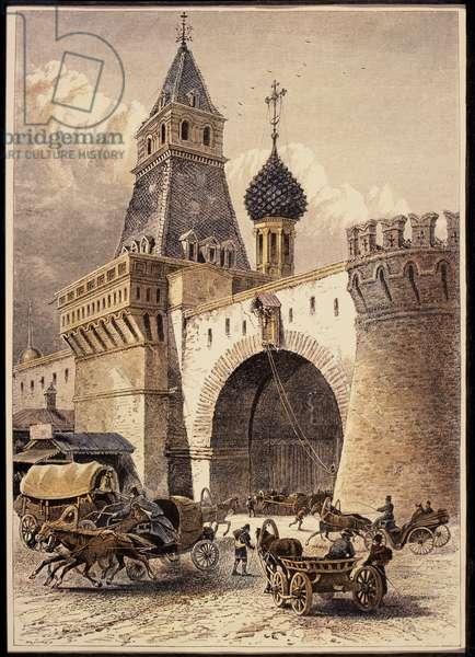 Nikolsky Gate, Moscow, Hand-Colored Engraving Circa 1875
