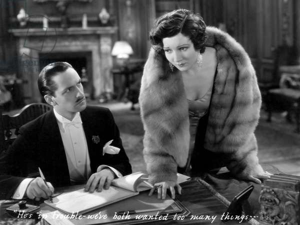 """Fredric March, Claudette Colbert, on-set of the Film, """"Honor Among Lovers"""", 1931"""
