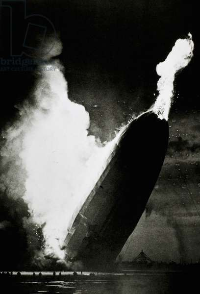 German Airship, Hindenburg, Crashing and Burning at Lakehurst, New Jersey, USA, May 6, 1937