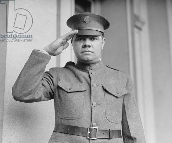 New York Yankees Baseball Player Babe Ruth, Saluting in National Guard Uniform, Washington DC, USA, 1924 (b/w photo)